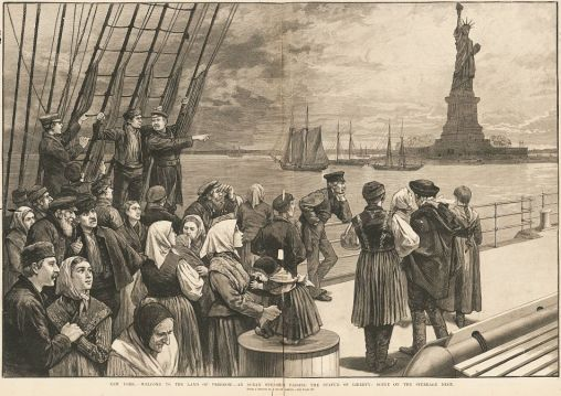 engraving of immigrants